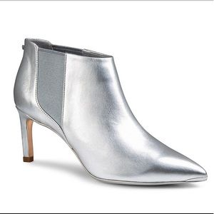 Ted Baker Beriinl Silver Leather Ankle Booties,7.5